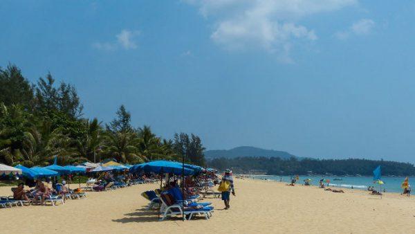 sun loungers and umbrellas on Karon Beach, Phuket