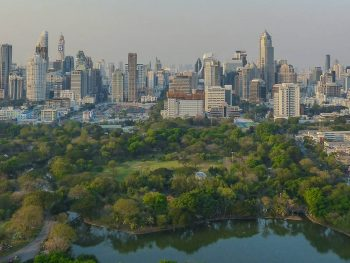 View over Lumpini Park from Park Society rooftop bar at Sofitel So Bangkok