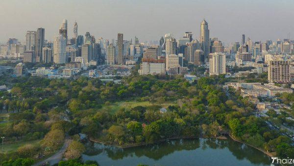View over Lumpini Park from Park Society rooftop bar at Sofitel So Bangkok