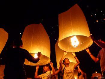 Mae Jo sky lantern release Chiang Mai